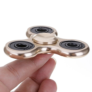 Premium Metallic Fidget Spinner Anti Stress Toy, Gold, 2-Pack