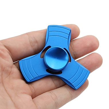 Aluminum Tri Fidget Gadget Hand Spinner for Autism, ADHD, Stress Relief, Blue, 2-Pack