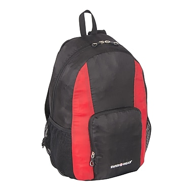 Swiss Gear Foldable Nylon Backpack In Self Pouch, Black (SWT0407 009)