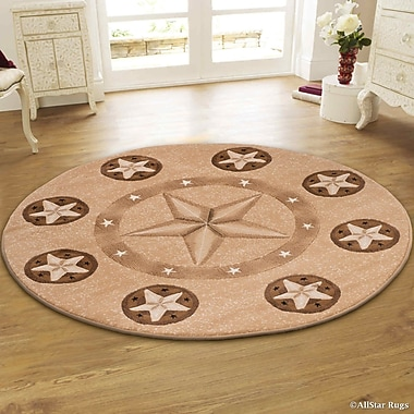 AllStar Rugs Hand-Woven Brown Area Rug; Round 5'