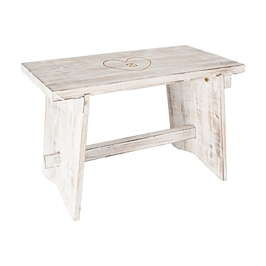 August Grove Cabrera Personalized Heart Rustic Wood Garden Bench; Z