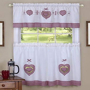 August Grove Cacia Gingham Hearts Embellished Tier and Valance Kitchen Curtain Set; 36'' H x 56'' W