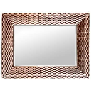 Brayden Studio Rectangle Weave Wood Wall Mirror; Rose Gold