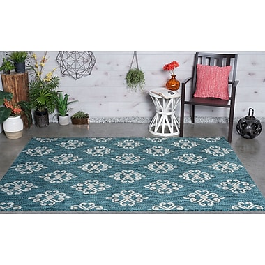 Charlton Home Bella Transitional Teal Indoor/Outdoor Area Rug; 7'10'' x 10'3''
