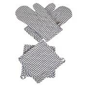 Didi's Kitchen Stripes 4- Piece Oven Mitt and Pot Holder Set; Blue/White