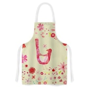 East Urban Home Nic Squirrel Bird in a Circle of Flowers Floral Artistic Apron