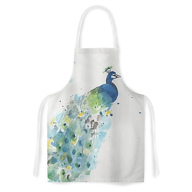 East Urban Home Rebecca Bender Abstract Watercolor Peacock Artistic Apron