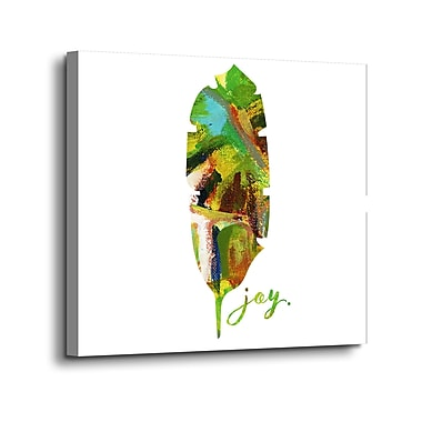 Ebern Designs 'Joy Leaf' Print on Canvas; 10'' H x 10'' W x 2'' D