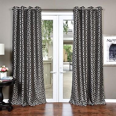 George Oliver Dighton Jacquard Geometric Grommet Curtain Panel; Black