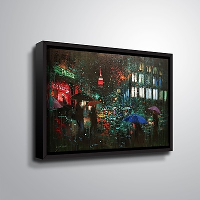 Ebern Designs 'Night Rain in NY' Framed Print on Canvas; 8'' H x 10'' W x 2'' D