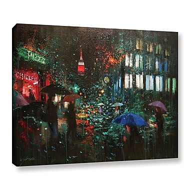 Ebern Designs 'Night Rain in NY' Print on Canvas; 14'' H x 18'' W x 2'' D