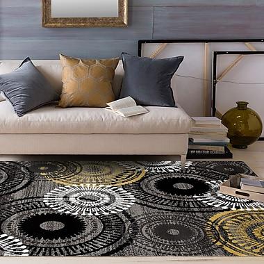Ebern Designs Allison Yellow/Gray Area Rug; 3'3'' x 5'3''