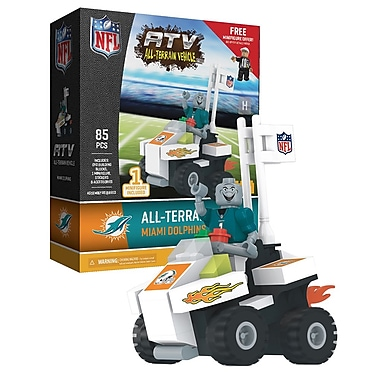 NFL ATV with Mascot: Miami Dolphins 85pc Building Block Set