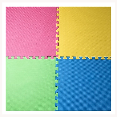 Tapis antifatigue à assembler, bords inclus, 24 x 24 po, bleu/jaune/vert/fuchsia