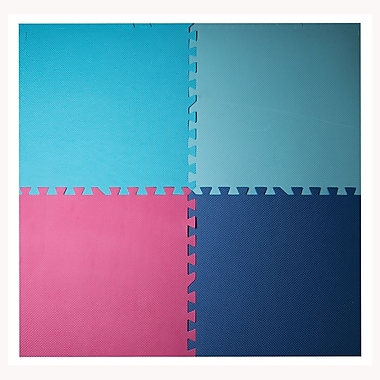 Tapis antifatigue à assembler, bords inclus, 24 x 24 po, bleu/turquoise/fuchsia/bleu ciel