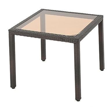 Highland Dunes Rosenda Outdoor Square Wicker Side Table; Brown