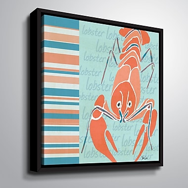 Highland Dunes 'Nautical Lobster' Framed Graphic Art Print on Canvas; 14'' H x 14'' W x 2'' D
