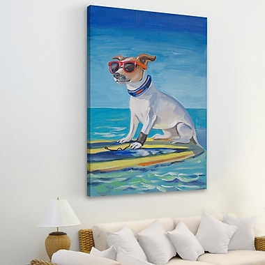 Highland Dunes 'Cool Surf Dog' Painting Print on Wrapped Canvas; 45'' H x 30'' W x 1.5'' D
