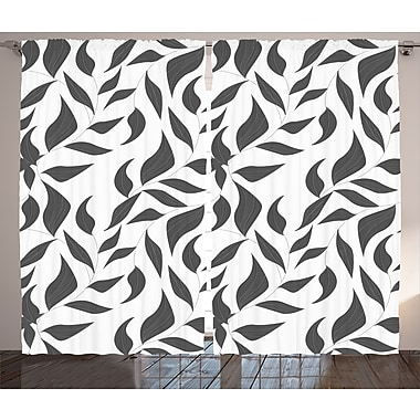 Ivy Bronx Jalen Grey Graphic Print & Text Semi-Sheer Rod Pocket Curtain Panels (Set of 2)