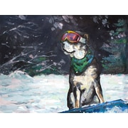 Loon Peak 'Snowboarding Doggie' Painting Print on Wrapped Canvas; 30'' H x 39'' W x 1.5'' D