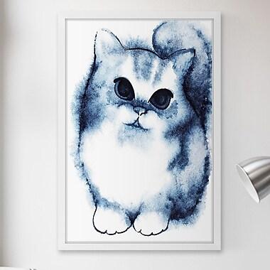 Latitude Run 'Shaded Blue Cat' Framed Painting Print; 60'' H x 40'' W x 1.5'' D
