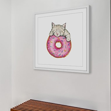 Latitude Run 'Donut Kitty' Framed Painting Print; 18'' H x 18'' W x 1.5'' D