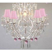 Rosdorf Park Clemence 5-Light Pink Shade Crystal Chandelier