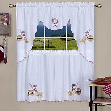 Red Barrel Studio Emsley Fast Food Embellished Tier and Swag Kitchen Curtain Set; 24'' H x 56'' W