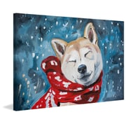 Red Barrel Studio 'Snowy Midnight' Painting Print on Wrapped Canvas; 16'' H x 24'' W x 1.5'' D