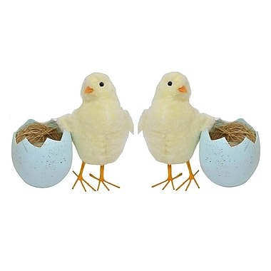 The Holiday Aisle ASST Chicken in Eggshell Figurine (Set of 2); Blue