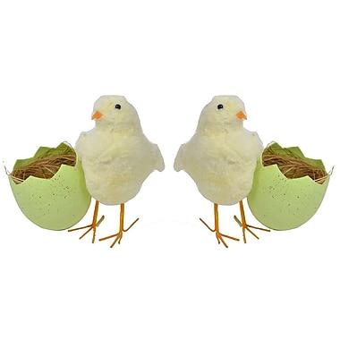 The Holiday Aisle ASST Chicken in Eggshell Figurine (Set of 2); Green