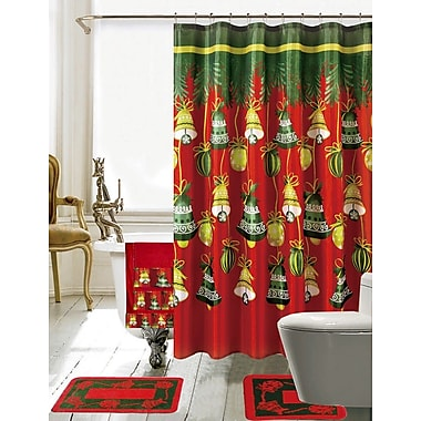 The Holiday Aisle Christmas Bathroom Decor 18 Piece Red/Green Shower Curtain Set
