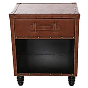 Williston Forge Chelsie Faux Leather Side Table; Cognac