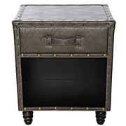 Williston Forge Chelsie Faux Leather Side Table; Gray