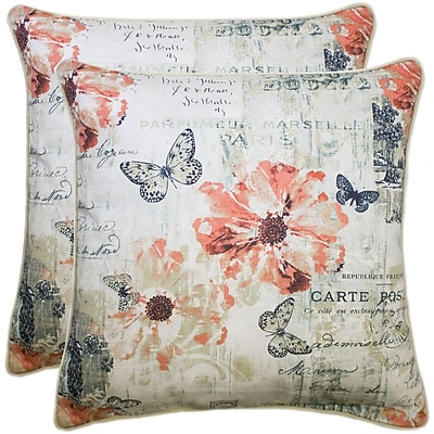 August Grove Caley 100pct Cotton Throw Pillow (Set of 2); Coral
