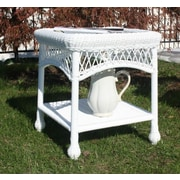 August Grove Camacho Glass Top Side Table; White