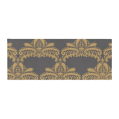 East Urban Home Nandita Singh Decorative Motif Floral Bed Runner; Gold/Copper