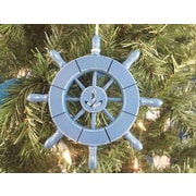 Breakwater Bay 6'' Decorative Ship Wheel w/ Anchor Christmas Tree Ornament; Light Blue