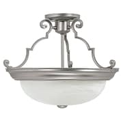 Charlton Home Jeffrey 14'' 3-Light Semi Flush Mount; Matte Nickel