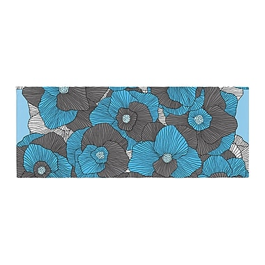 East Urban Home Skye Zambrana In Bloom Floral Bed Runner; Blue/Gray