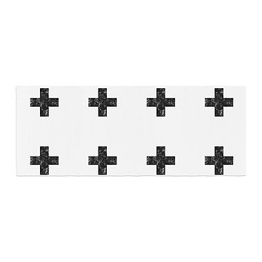 East Urban Home Skye Zambrana Swiss Cross Simple Dark Bed Runner; White