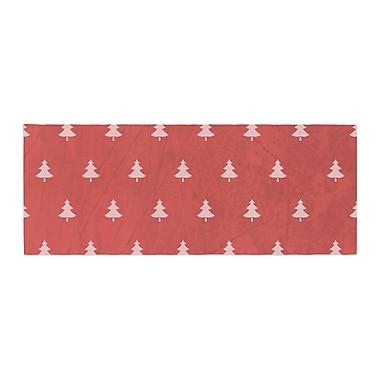 East Urban Home Snap Studio Pine Pattern Bed Runner; Red/Maroon