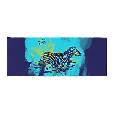 East Urban Home Frederic Levy-Hadida Watercolored Zebra Bed Runner; Blue
