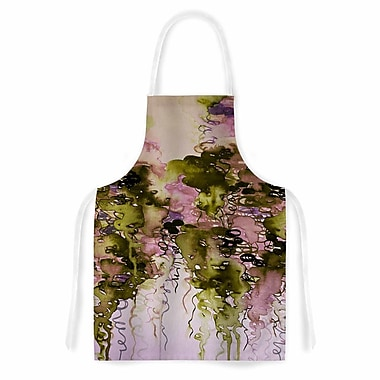 East Urban Home Ebi Emporium Beauty in the Rain Emerald Artistic Apron; Olive/Pink