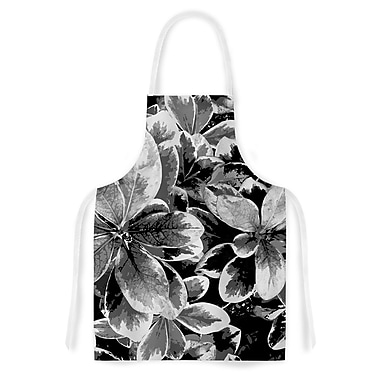 East Urban Home Julia Grifol Leaves Floral Artistic Apron; Gray/Black