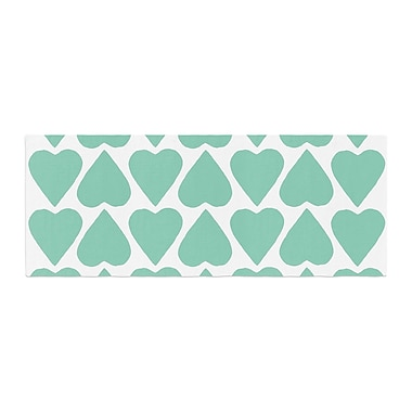 East Urban Home Project M Mint Up and Down Hearts Bed Runner; Mint/White