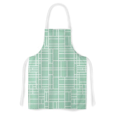 East Urban Home Project M Map Outline Simple Lines Artistic Apron; Mint