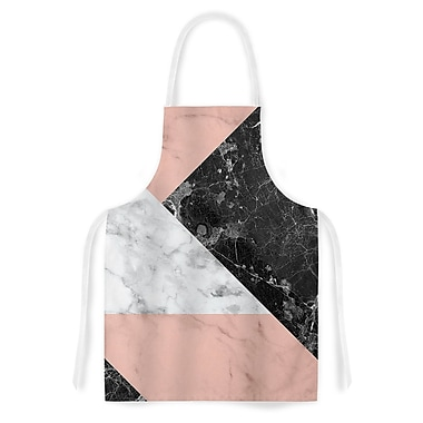 East Urban Home Geo Marble Art Deco Artistic Apron; Coral