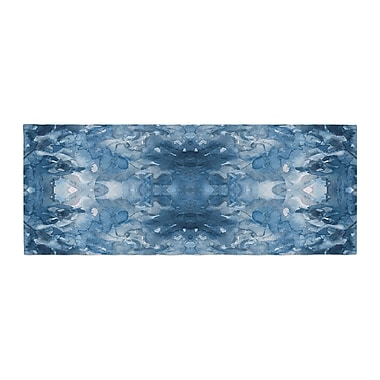 East Urban Home Ebi Emporium Tie Dye Helix Abstract Bed Runner; Blue