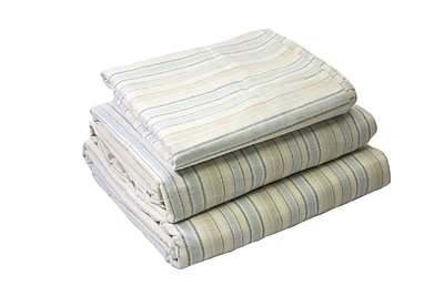 Breakwater Bay Lauryn Yarn Dyed 200 Thread Count 3 Piece 100pct Cotton Sheet Set; Ivory Blue